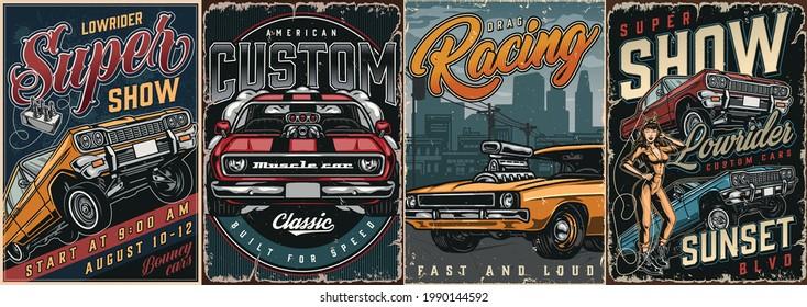 Individuelle Autos Vintage bunte Plakate mit Tiefer- und Muskellamerikanische Autos attraktive Winzlerin in mechaneinheitlicher Vektorgrafik