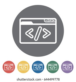 Custom coding icon. Vector illustration.