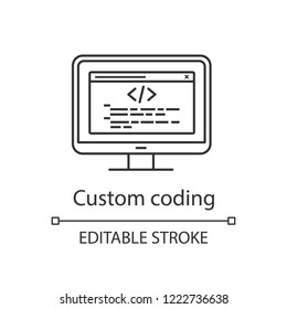 Custom coding linear icon. Programming. Website development. Thin line illustration. Website optimization. Point-to-point integration. Contour symbol. Vector isolated outline drawing. Editable stroke