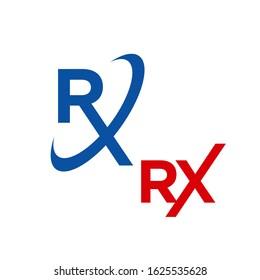 custom creative RX logo design vector medical treatment icon symbol illustration