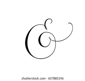 Custom decorative ampersand isolated on white. Hand written calligraphy, vector illustration. Great for wedding invitations, cards, banners, photo overlays.