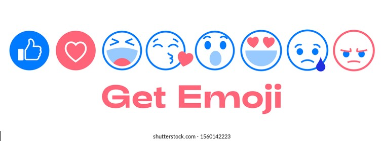 Custom emoji set for social chat reactions. Trendy like, heart, love, laugh, kisses, wonder, sad, and angry head emoticons. Send emotional stickers as message.