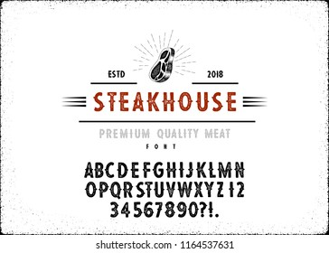 Custom handwritten alphabet. Retro textured hand drawn typeface with grunge effect.  Letters and Numbers. Serif Font.Set of Textured meat and steak  Badges, Emblems, Logos and Design Elements.