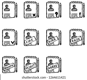 Custom icons set. collection of icons with the theme of personal data. personal file of an employee or client with marks.