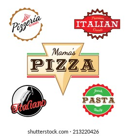 Custom labels logos in vector format for a pizza restaurant or Italian deli.