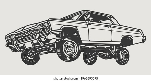 Custom lowrider retro car vintage concept in black and white colors isolated vector illustration