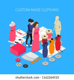 Custom made clothing isometric concept with dress symbols vector illustration