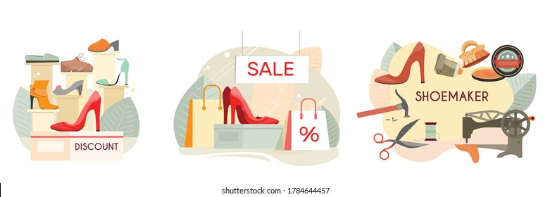 Custom made shoes shoemaker discount footwear shop high heels women pumps sale 3 flat compositions vector illustration