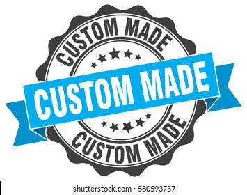 custom made. stamp. sticker. seal. round grunge vintage ribbon custom made sign