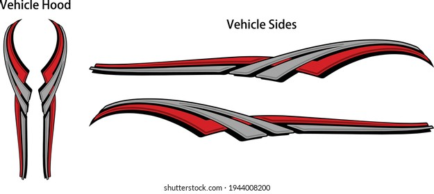 Custom modern graphic swipe stripes for passenger, driver side and hood of any vehicle. Easy to edit and change color. Vector eps design.