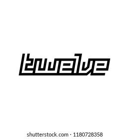 custom modern number twelve symbol in white background