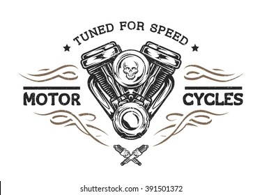 Custom motor in vintage style. Emblem, symbol, t-shirt graphic.