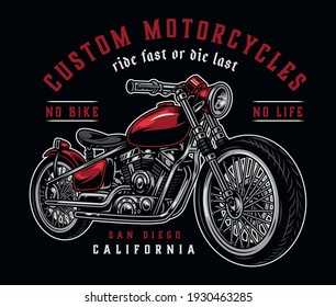 Custom motorcycle colorful label in vintage style with inscriptions and motorbike on dark background isolated vector illustration