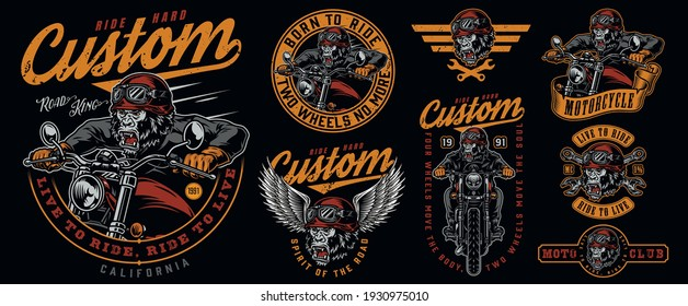 Custom motorcycle labels set with angry gorilla motorcyclist monkey head in moto helmet and eagle wings wrenches in vintage style isolated vector illustration