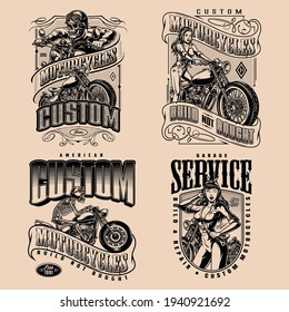Custom motorcycle vintage monochrome designs with skeleton and girl bikers motorbike garage repair service emblems and labels isolated vector illustration