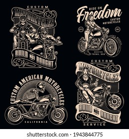 Custom motorcycle vintage monochrome labels with inscriptions skeleton motorcyclists attractive biker girls and motorbikes isolated vector illustration