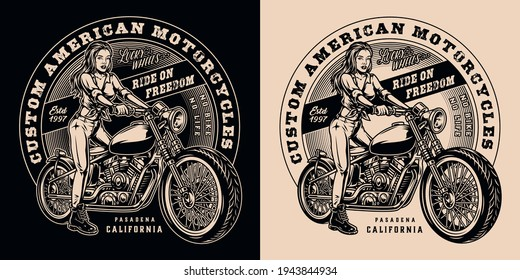 Custom motorcycle vintage print with beautiful biker girl and classic motorbike in monochrome style isolated vector illustration