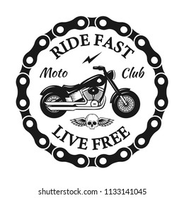 Custom motorcycles club Badge or Label With skull, wings and chain. Ride fast Live free. Vintage Biker builds, repairs service design for signage, prints and emblems