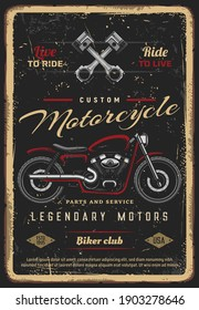 Custom motorcycles parts and service, vintage vector poster for biker club. Retro motorbike garage, motor bike or classic antique chopper bike, American custom motorcycle and engine valves grunge card
