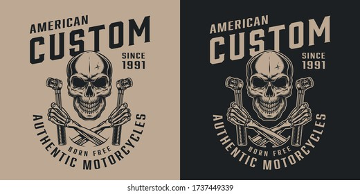 Custom motorycle service vintage print with skull and crossed skeleton hands holding socket wrenches in monochrome style isolated vector illustration