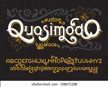 Custom retro typeface Quasimodo. Vintage gold alphabet font set with black flowers
