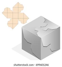 Custom shaped Decorative Packet design no glue locker. Die-stamping blueprint box,  folding, ready no glue Top Lock. Laser cutting. Wedding bonbonniere.