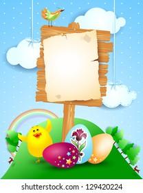 Custom signboard on Easter landscape, vector