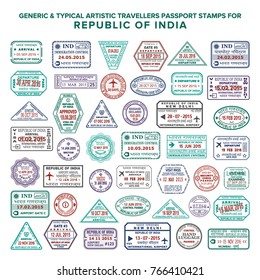 Custom vector passport arrival & departure stamps set for India. Translations: Republic of India, Immigration control, Immigration service, Passport control, International airport, Delhi, Mumbai.