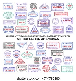 Custom vector typical artistic passport arrival and departure stamps variations set for USA