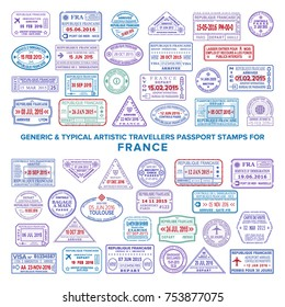Custom vector typical artistic passport arrival and departure stamps variations set for France