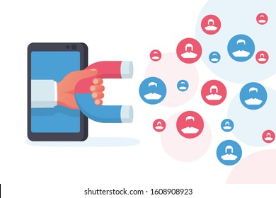 Customer acquisition concept. Hand with a magnet attracts new consumers. Followers and likes. Smartphone as a tool of social media. Vector illustration flat design. Isolated on white background.