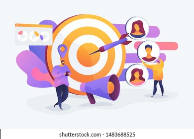 Customer attraction campaign, accurate promo, advertising business. Market segmentation, adverts, target market, target group, target customer concept. Vector isolated concept creative illustration