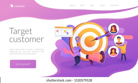 Customer attraction campaign, accurate promo, advertising business. Market segmentation, adverts, target market, target group, target customer concept. Website homepage header landing web page