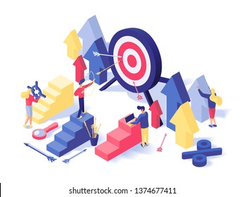 Customer attraction strategy isometric illustration. Targeting advertising settings, sales growth, traffic conversions increasing, promo campaign. Business analytics, metrics tools 3d concept