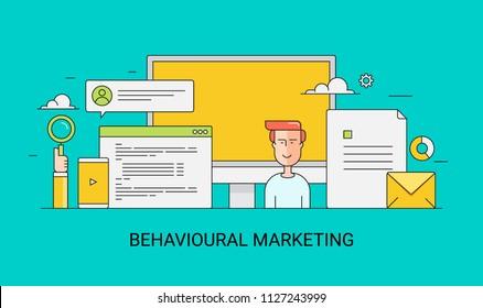 Customer behavior - Behavioral digital marketing - flat line conceptual illustration on green background