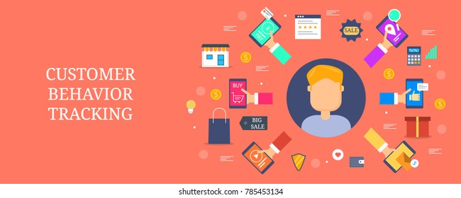 Customer behavior tracking, Online customers, marketing strategy flat vector banner with icons