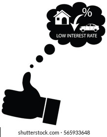 Customer or Business man wishing and liking for a low interest rate on finance from bank on home mortgage, car finance. Dreaming for decline in interest rates.