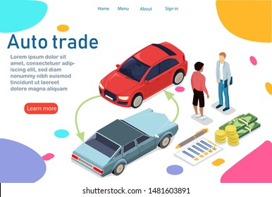 The customer buys a new car. Changes your old car to a new one with a small extra charge. Business relationship between car owner and dealer. Also payment in parts. Vector illustration in 3d isometry