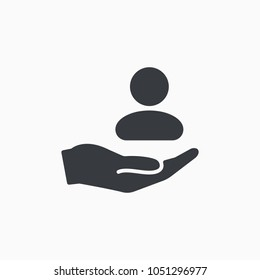 Customer care icon. Customer Retention Vector Icon. Patient assistance icon. Service support. Safety pictogram