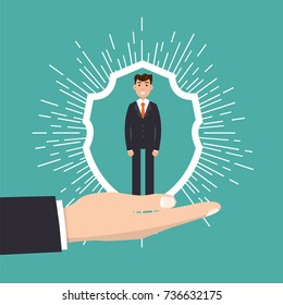 Customer Care, retention or loyalty concept. Businessman in a hand holds  client. Vector illustration.