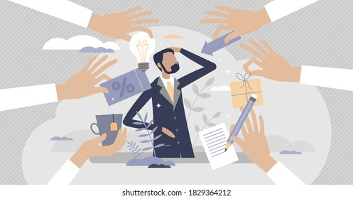Customer centric performance or client focused offers tiny persons concept. Products or service with advantage accommodation for special partnership as marketing method or strategy vector illustration