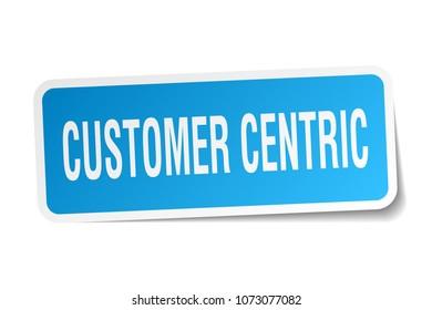 customer centric square sticker on white