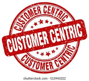 customer centric stamp.  red round customer centric grunge vintage stamp. customer centric