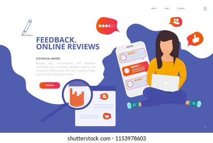 Customer centricity reputation management concept vector illustration. Customer feedback online review site landing page wireframe. Online review report client survey presentation template.