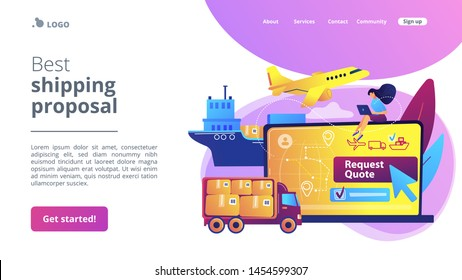 Customer choosing order delivery type, global distribution. Freight quote request, best shipping proposal, freight cost request form concept. Website homepage landing web page template.