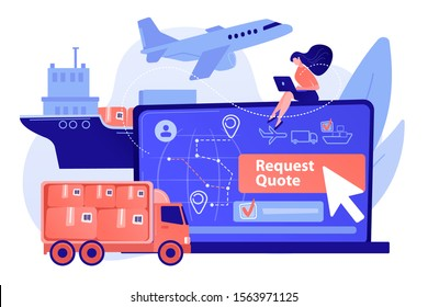 Customer choosing order delivery type, global distribution. Freight quote request, best shipping proposal, freight cost request form concept. Pinkish coral bluevector isolated illustration