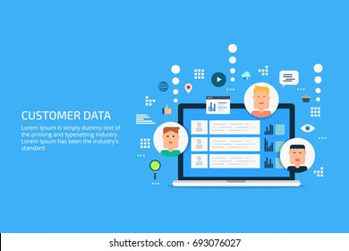 Customer data, customer base, client profile, portfolio, marketing data flat vector illustration with icons