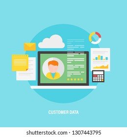Customer Data, Business profile, flat design vector concept with icons