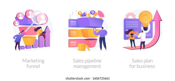 Customer engagement. Sales conversions and traffic increase strategies. Marketing funnel, sales pipeline management, sales plan for business metaphors. Vector isolated concept metaphor illustrations.