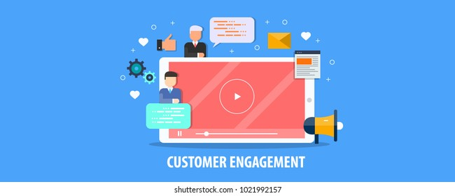 Customer engagement strategy, Customer attraction, retention flat vector illustration with icons